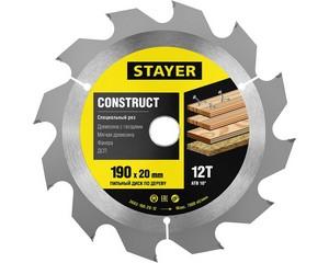 STAYER Construct 190 x 20мм 12Т, диск пильный по дереву, технический рез с гвоздями