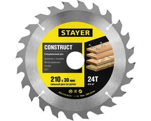 STAYER CONSTRUCT 210 x 30/20мм 24Т, диск пильный по дереву, технический рез