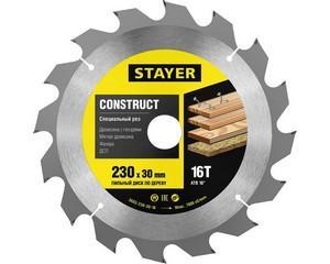 STAYER Construct 230 x 30мм 16Т, диск пильный по дереву, технический рез с гвоздями