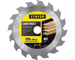 STAYER Construct 235 x 30мм 16Т, диск пильный по дереву, технический рез с гвоздями