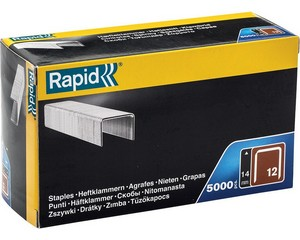 RAPID 14 мм скобы тонкие широкие тип 80 (12 / ВеА 80 / Prebena A / Senco AT), 5000 шт