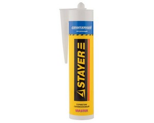 """Герметик STAYER """"MASTER"""" санитарный силиконовый, для помещений с повышенной влажностью, прозрачный, 260мл"""