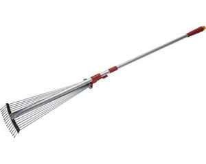 GRINDA Грабли веерные, регулируемые, длина 800-1240мм, с телескопическим алюминиевым черенком, 15 круглых зубцов
