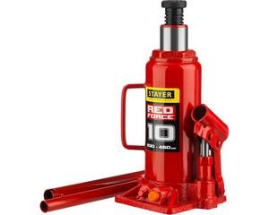 "Домкрат гидравлический бутылочный ""RED FORCE"", 10т, 230-460 мм, STAYER 43160-10"