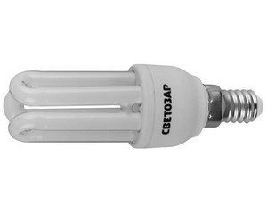 """Энергосберегающая лампа СВЕТОЗАР """"U-КЛАССИКА""""спираль,цоколь E14(миньон),Т2,3U,яркий бел свет(4000К), 8000час, 9Вт(45)"""