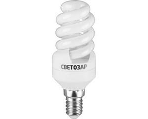 "Энергосберегающая лампа СВЕТОЗАР ""КОМПАКТ"" спираль,цоколь E14(миньон),Т2,теплый белый свет(2700 К), 10000час, 9Вт(45)"