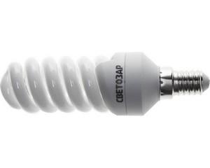Энергосберегающая лампа   спираль,цоколь E14(миньон),Т2, 2700 К, 8000 час, 12Вт(60), СВЕТОЗАР, КОМПАКТ, 44351-12