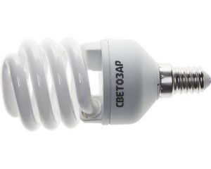 "Энергосберегающая лампа СВЕТОЗАР ""КОМПАКТ"" спираль,цоколь E14(миньон),Т2,теплый белый свет(2700 К), 10000час, 15Вт(75)"