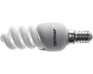 "Энергосберегающая лампа СВЕТОЗАР ""КОМПАКТ"" спираль,цоколь E14(миньон),Т2,яркий белый свет(4000 К), 10000 час, 9Вт(45)"