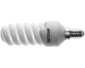 "Энергосберегающая лампа СВЕТОЗАР ""КОМПАКТ"" спираль,цоколь E14(миньон),Т2,яркий белый свет(4000 К), 10000 час, 12Вт(60)"