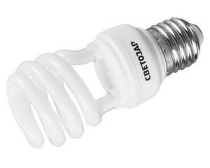 Энергосберегающая лампа   спираль, цоколь E27(стандарт),Т2, 2700 К, 8000 час, 12Вт(60), СВЕТОЗАР, КОМПАКТ, 44452-12