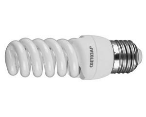 "Энергосберегающая лампа СВЕТОЗАР ""КОМПАКТ"" спираль,цоколь E27(стандарт),Т2,теплый белый свет(2700 К),10000час,12Вт(60)"