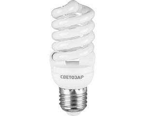 "Энергосберегающая лампа СВЕТОЗАР ""КОМПАКТ"" спираль,цоколь E27(стандарт),Т2,теплый белый свет(2700 К),10000час,15Вт(75)"