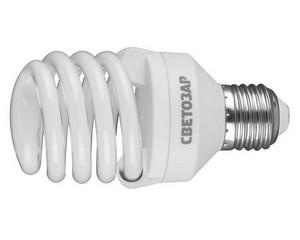 "Энергосберегающая лампа СВЕТОЗАР ""КОМПАКТ"" спираль,цоколь E27(стандарт),Т2,теплый белый свет(2700 К), 8000час,20Вт(100)"