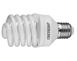 "Энергосберегающая лампа СВЕТОЗАР ""КОМПАКТ""спираль,цоколь E27(стандарт),Т2,теплый белый свет(2700 К),10000час,25Вт(125)"