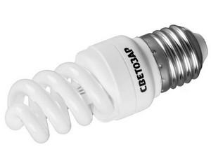 "Энергосберегающая лампа СВЕТОЗАР ""КОМПАКТ"" спираль,цоколь E27(стандарт),Т2,яркий белый свет(4000 К), 8000час, 9Вт(45)"