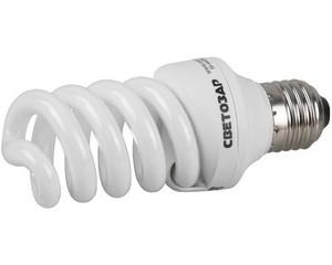 "Энергосберегающая лампа СВЕТОЗАР ""КОМПАКТ"" спираль,цоколь E27(стандарт),Т2,яркий белый свет(4000 К), 8000час, 15Вт(75)"