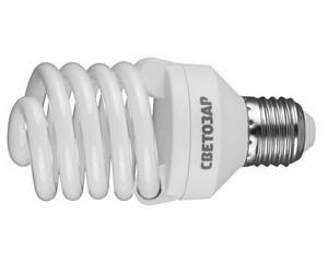 "Энергосберегающая лампа СВЕТОЗАР ""КОМПАКТ"" спираль,цоколь E27(стандарт),Т2,яркий белый свет(4000 К),10000час,25Вт(125)"