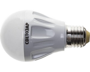 "Лампа СВЕТОЗАР светодиодная ""LED technology"", цоколь E27(стандарт), теплый белый свет (2700К), 220В, 6Вт (50)"