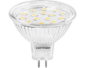 "Лампа СВЕТОЗАР светодиодная ""LED technology"", цоколь GU5.3, теплый белый свет (3000К), 220В, 3Вт (25)"
