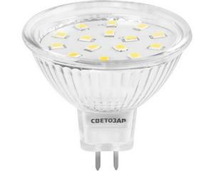 "Лампа СВЕТОЗАР светодиодная ""LED technology"", цоколь GU5.3, яркий белый свет (4000К), 230В, 3Вт (25)"