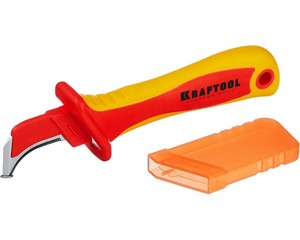 "KN-7, нож электрика диэлектрический, с ""пяткой"", изогнутый, KRAFTOOL"