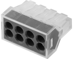 Клемма СВЕТОЗАР соединительная, 8-и проводная, 400В, 24А, 0,75-2,5мм2, 2шт
