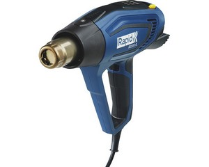 RAPID R2200 фен строительный 2200 Вт. Регулировка температуры: 60-650 °C. Расход воздуха: 250-500 л/мин. Светодиодная индикация нагрева