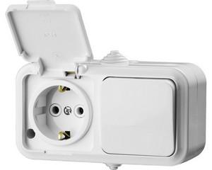 Блок горизонтальный — выключатель одноклавишный и розетка с заземляющим контактом и защитной крышкой, STAYER, MASTER, 54311-W