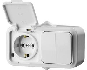 Блок горизонтальный — выключатель двухклавишный и розетка с заземляющим контактом и защитной крышкой, STAYER, MASTER, 54313-W