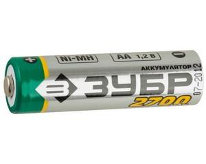 Аккумулятор ЗУБР никель-металлгидридный, тип АА, 2700мАч, 4шт на карточке