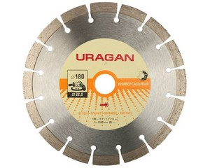 180 мм, диск алмазный отрезной сегментный по бетону, камню, кирпичу, URAGAN