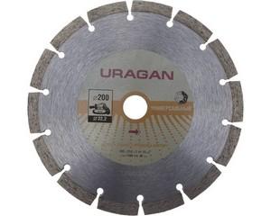 200 мм, диск алмазный отрезной сегментный по бетону, камню, кирпичу, URAGAN