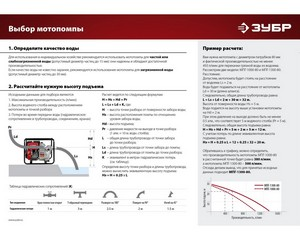 Мотопомпа бензиновая, ЗУБР МПЧ-350-40, 350 л/мин (21 м3/ч), патрубки 40 мм, напор 25 м, всасывание 7 м