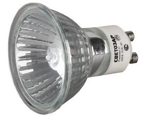 Лампа галогенная СВЕТОЗАР с защитным стеклом, алюм. отражатель, цоколь GU10, диаметр 51мм, 35Вт, 220В