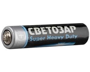 """Батарейка СВЕТОЗАР """"SUPER HEAVY DUTY"""" солевая, тип AAA, 1,5В, 4шт на карточке"""