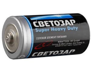 "Батарейка СВЕТОЗАР ""SUPER HEAVY DUTY"" солевая, тип C, 1,5В, 2шт на карточке"