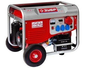 Бензиновый генератор с электростартером, колесами и рукояткой, 380 В, 6000 Вт, ЗУБР