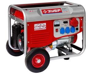 Бензиновый генератор с колесами и рукояткой, 380 В, 6000 Вт, ЗУБР