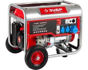Бензиновый генератор с колесами и рукояткой, 6200 Вт, ЗУБР