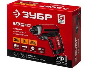 ЗУБР ViX отвертка аккумуляторная 3.6 В, в коробке с 10 битами
