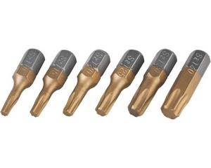 Набор JCB: Биты, хромомолибденовая сталь S2, титановое покрытие, 6 пред.: TX 10,15,20,25,30,40, 25мм