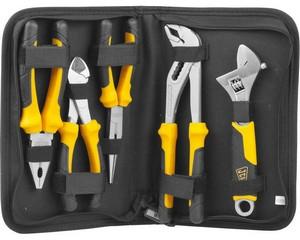 Набор JCB: Губцевый инструмент, хромированное покрытие, двухкомпонентные рукоятки, CrV cталь, 5 предм, чехол